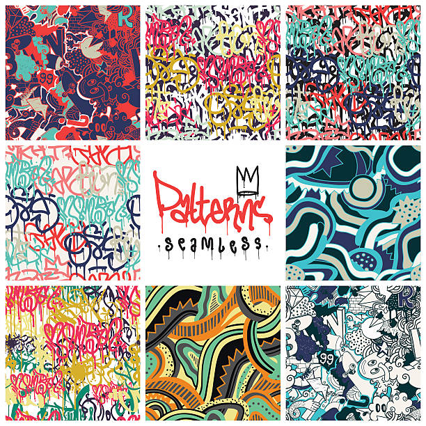 graffiti seamless patterns set - urban fashion stock illustrations, clip art, cartoons, & icons