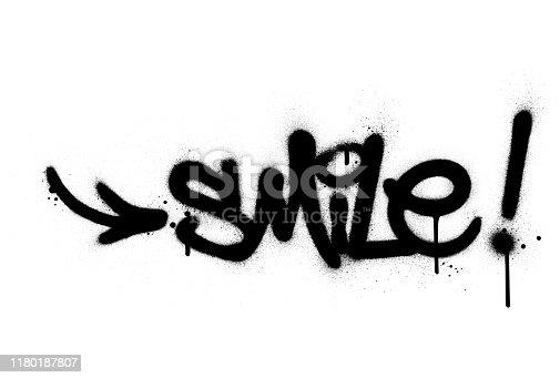 graffiti smile word sprayed in black over white