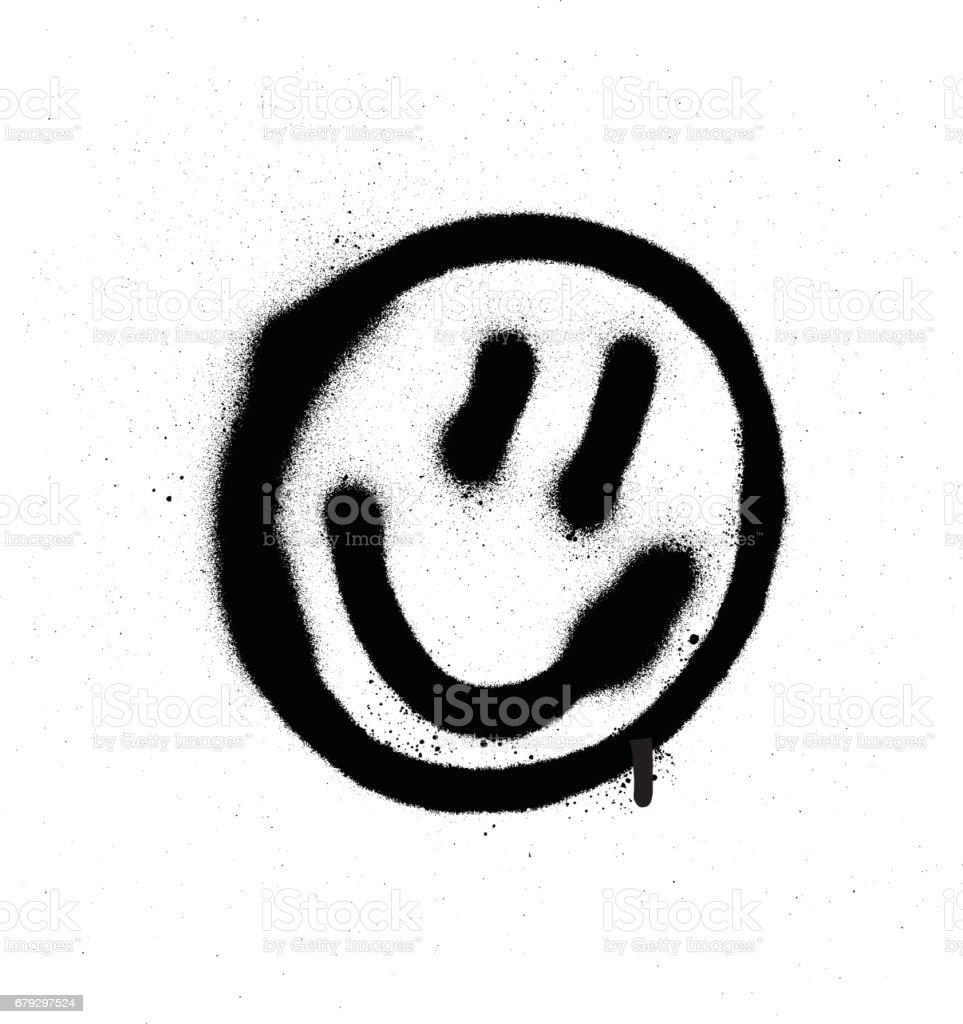 Graffiti souriante d'émoticône visage en noir sur blanc - clipart vectoriel de Art libre de droits