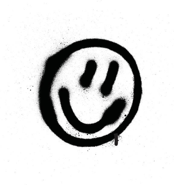 illustrations, cliparts, dessins animés et icônes de graffiti souriante d'émoticône visage en noir sur blanc - graffiti