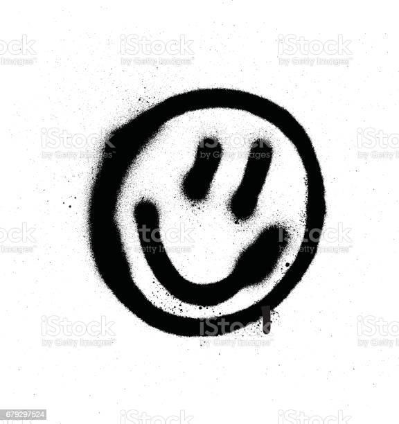 Graffiti Souriante Démoticône Visage En Noir Sur Blanc Vecteurs libres de droits et plus d'images vectorielles de Art