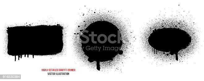 Graffiti spray banner set. Abstract graphic spray paint frame. Highly detailed template for backgrounds or design.