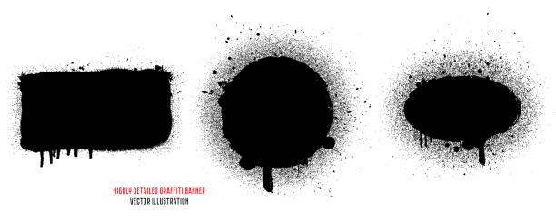 ilustraciones, imágenes clip art, dibujos animados e iconos de stock de graffiti spray sistema de banner. marco gráfico abstracto de la pintura de aerosol. - textura de grafiti