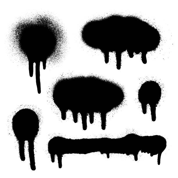 ilustrações, clipart, desenhos animados e ícones de grafite spray de conjunto de bandeira. moldura de tinta spray vector. - textura de grafite