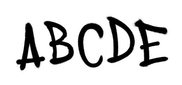 Graffiti spray font alphabet. Vector illustration