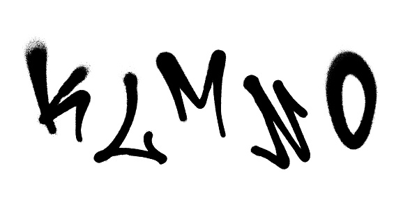 Graffiti spray font alphabet with a spray in black over white. Vector illustration