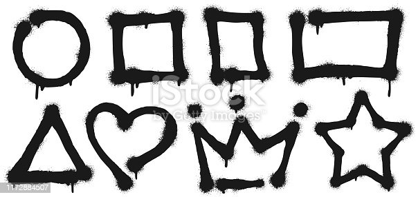 Graffiti spray frames. Sprayed circle shape, paint square and rectangle frame. Heart, crown and star shapes. Stencil spray painted graffiti border isolated vector illustration signs set