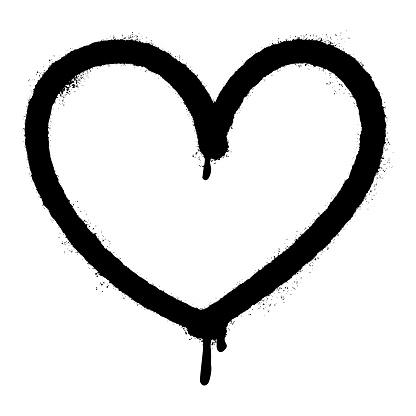 graffiti spray heart icon design element. Logo element illustration. Love symbol icon isolated on white background. vector illustration.