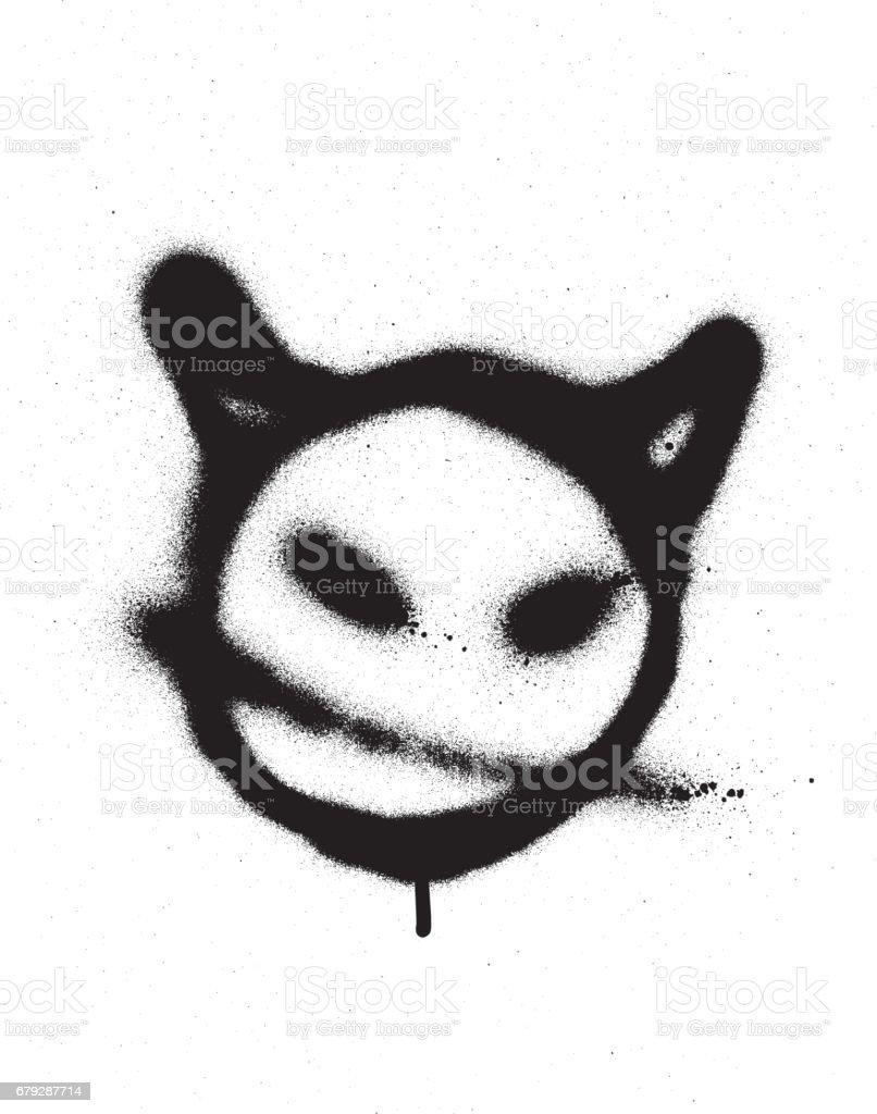 graffiti sprayed devil emoticon in black on white royalty-free graffiti sprayed devil emoticon in black on white stock vector art & more images of anger