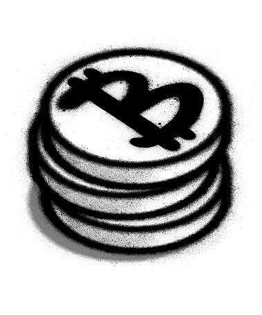 graffiti stacked bitcoin sprayed in black over white
