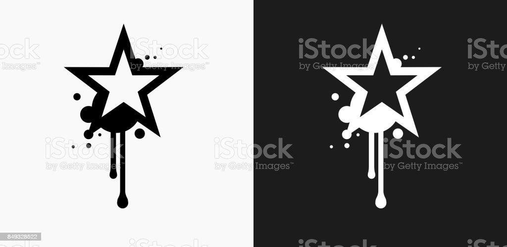 Graffiti Star Icon on Black and White Vector Backgrounds vector art illustration