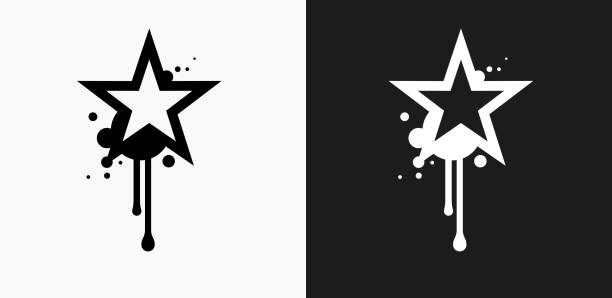 Graffiti Star Icon on Black and White Vector Backgrounds vector art illustration