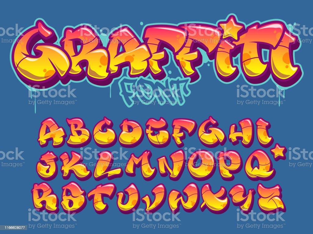 Graffiti police de style. Alphabet de vecteur de couleurs oranges et jaunes - clipart vectoriel de Art libre de droits