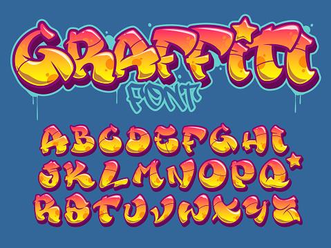 Graffiti style font. Orange and yellow colors vector alphabet