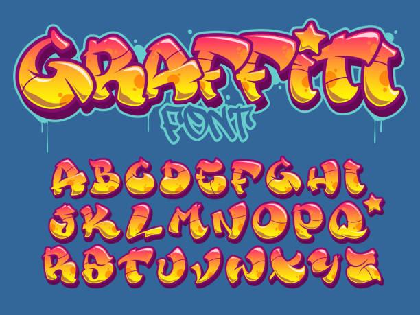graffiti tarzı yazı. turuncu ve sarı renkler vektör alfabe - duvar yazısı stock illustrations