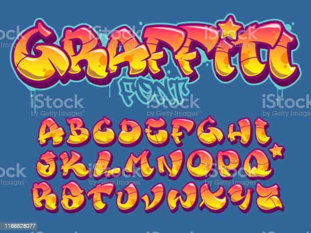Graffiti Police De Style Alphabet De Vecteur De Couleurs Oranges Et Jaunes Vecteurs libres de droits et plus d'images vectorielles de Art