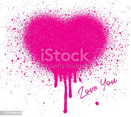 istock Graffiti style heart image with paint splatters 1202558048