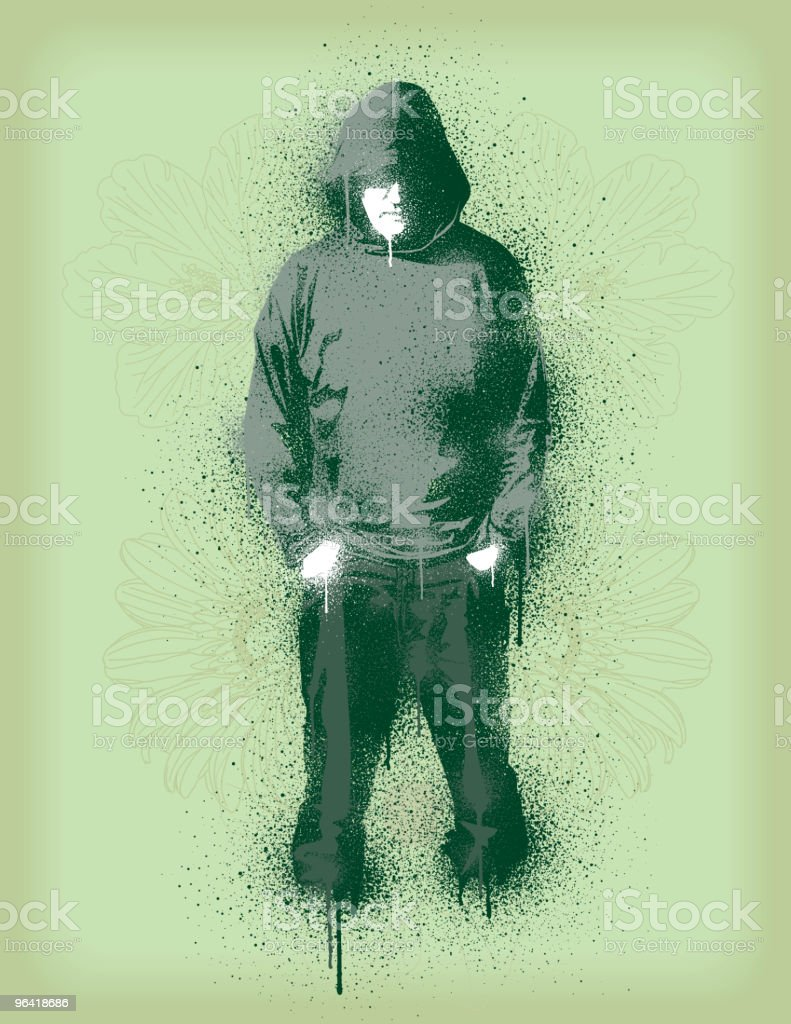 Graffiti style illustration of a man in hoody and pants