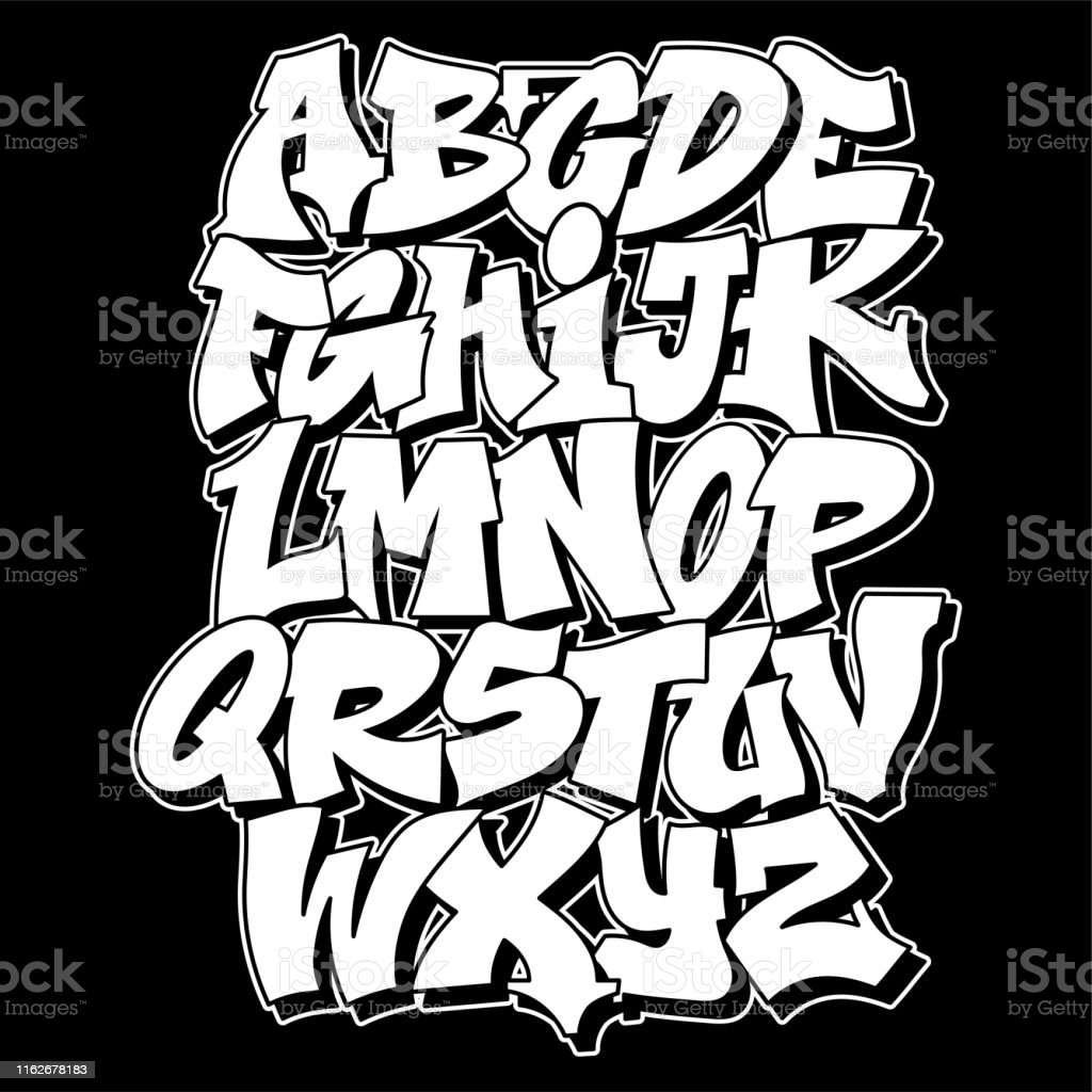 Conception de texte de lettrage de modèle de graffiti - clipart vectoriel de Abstrait libre de droits