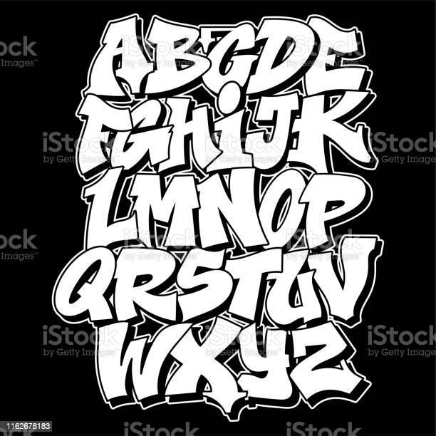 Conception De Texte De Lettrage De Modèle De Graffiti Vecteurs libres de droits et plus d'images vectorielles de Abstrait