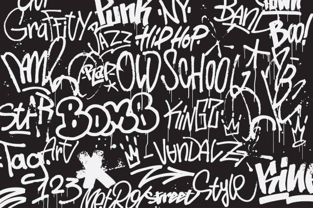 Graffiti tags background in black and white colors. Graffiti texture in hand drawn style. Old school street art. Element for t-shirt design, textile, banner. Vector illustration vector art illustration