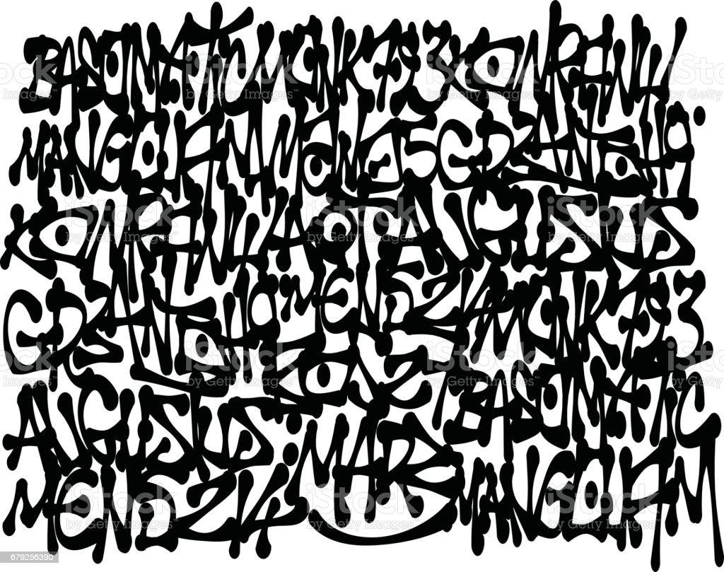 graffiti tags fundo em preto sobre branco - ilustração de arte em vetor