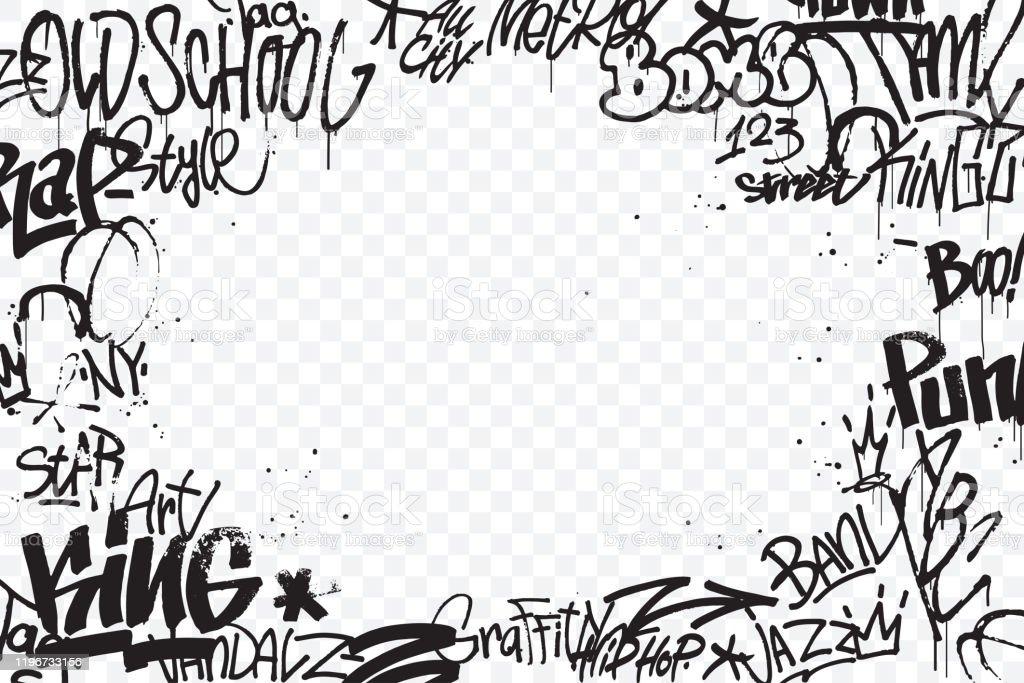 Les étiquettes de graffiti bordent isolées sur le fond transparent. Décoration abstraite d'art de rue. Texture de dessin de main de graffiti. Élément pour bannière, conception de t-shirt, textile, papier d'emballage. Illustration de vecteur - clipart vectoriel de Abstrait libre de droits
