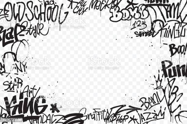 Les Étiquettes De Graffiti Bordent Isolées Sur Le Fond Transparent Décoration Abstraite Dart De Rue Texture De Dessin De Main De Graffiti Élément Pour Bannière Conception De Tshirt Textile Papier Demballage Illustration De Vecteur Vecteurs libres de droits et plus d'images vectorielles de Abstrait