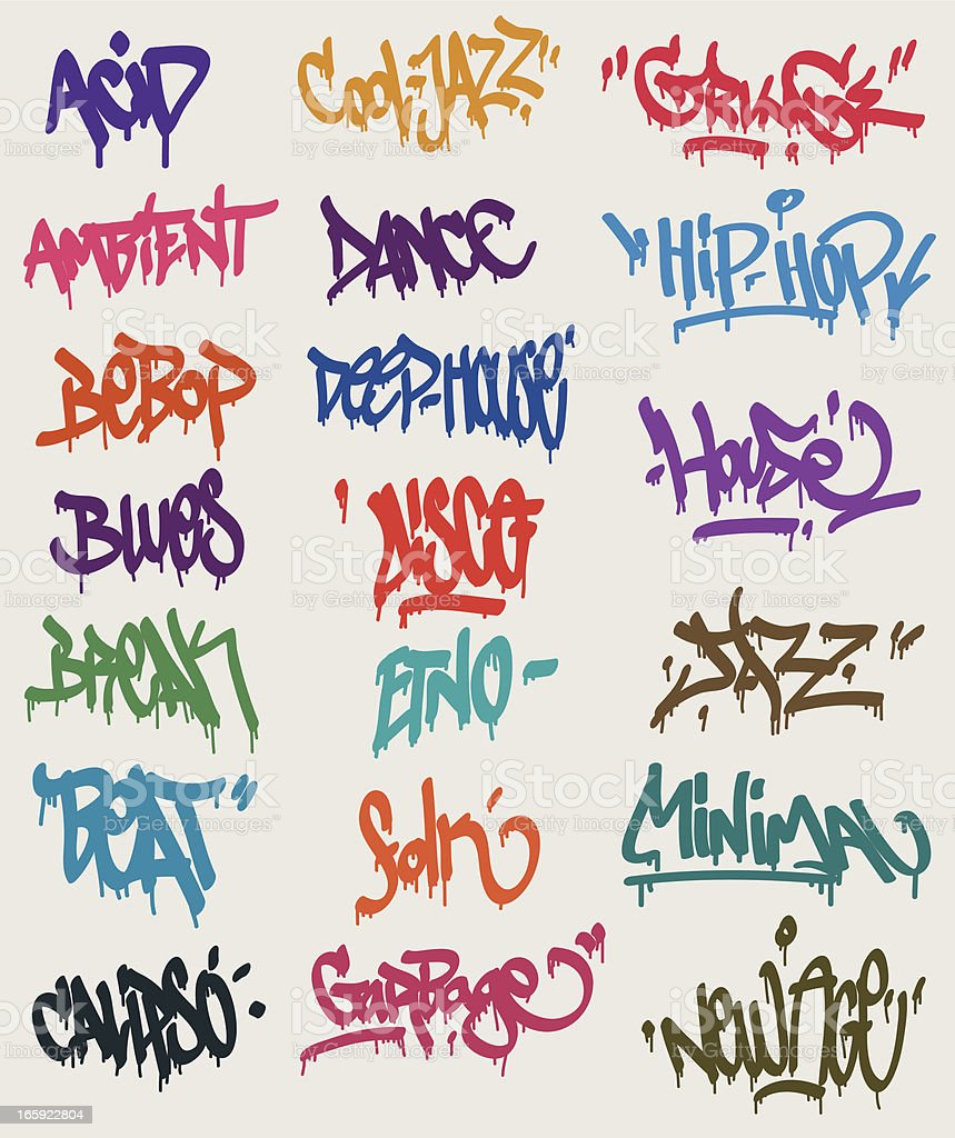 Graffiti tags vector art illustration