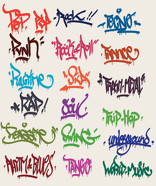 graffiti tags - graffiti fonts stock illustrations, clip art, cartoons, & icons