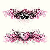Two graffiti/tattoo style border designs with hand-drawn elements and spray featuring winged heart and rose. Global colors used and hi res jpeg included. All objects are separate. Scroll down to see more of my illustrations.