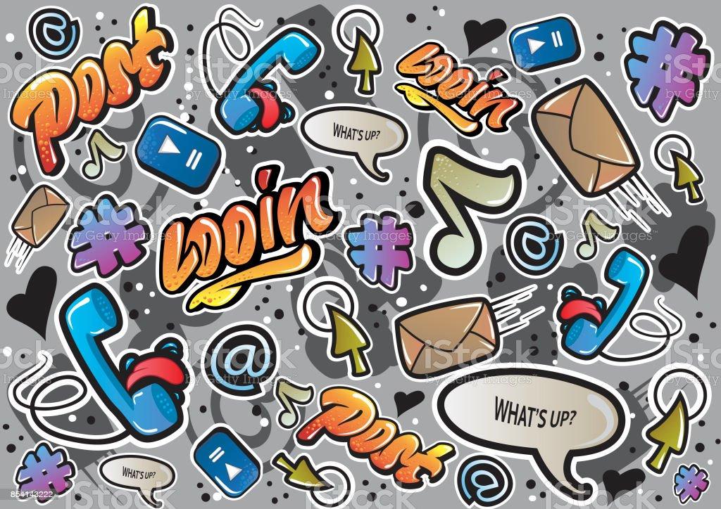 Textura de grafite com sinais de meios de comunicação social e outras divertidas ilustrações. Vector. - ilustração de arte em vetor