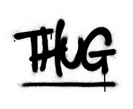 graffiti thug word sprayed in black over white
