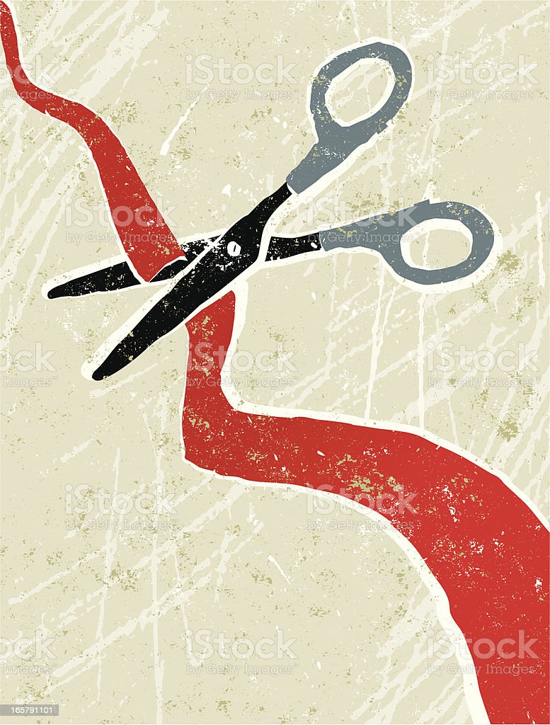 A graffiti type image of scissors cutting a wavy red tape royalty-free stock vector art
