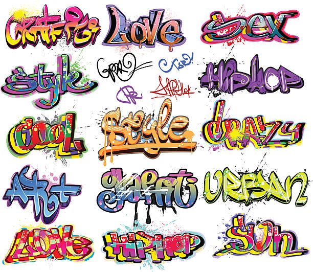 graffiti urban art design - graffiti fonts stock illustrations, clip art, cartoons, & icons