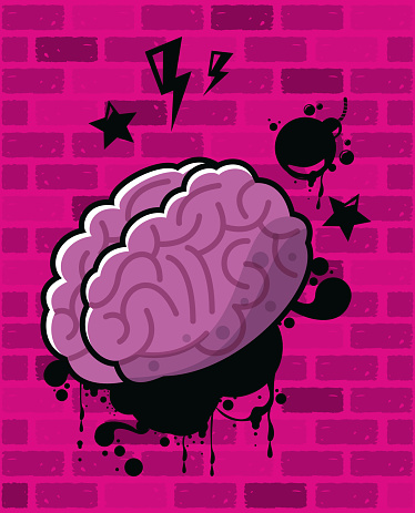 graffiti urban style poster with brain