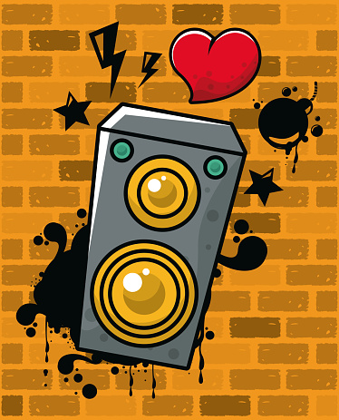 graffiti urban style poster with heart and speaker