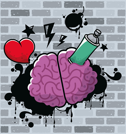 graffiti urban style poster with paint spray bottle and brain
