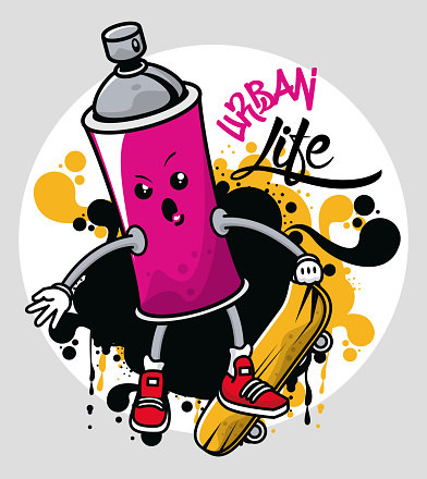 graffiti urban style poster with paint spray bottle character