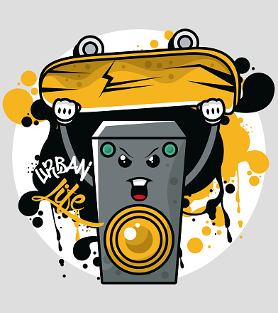 graffiti urban style poster with skateboard and speaker