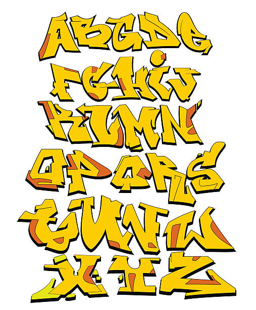 graffiti vector alphabet - graffiti fonts stock illustrations, clip art, cartoons, & icons