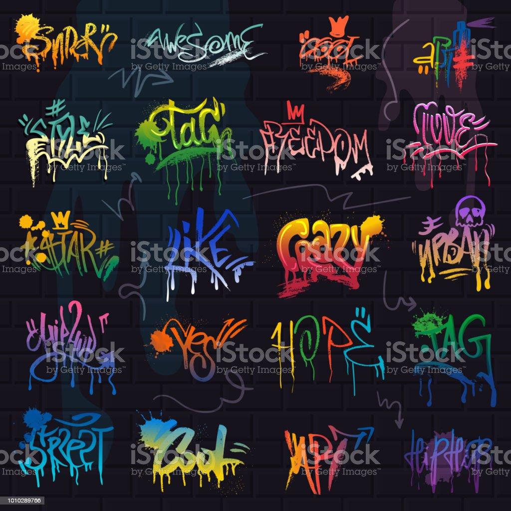 Graffiti graffiti de vecteur de lettrage de coup de pinceau ou un graphique grunge typographie illustration jeu de rue texte avec amour liberté isolée sur fond de mur de brique - clipart vectoriel de Amour libre de droits