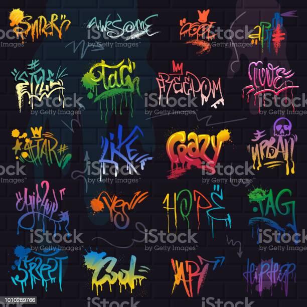 Graffiti Graffiti De Vecteur De Lettrage De Coup De Pinceau Ou Un Graphique Grunge Typographie Illustration Jeu De Rue Texte Avec Amour Liberté Isolée Sur Fond De Mur De Brique Vecteurs libres de droits et plus d'images vectorielles de Amour