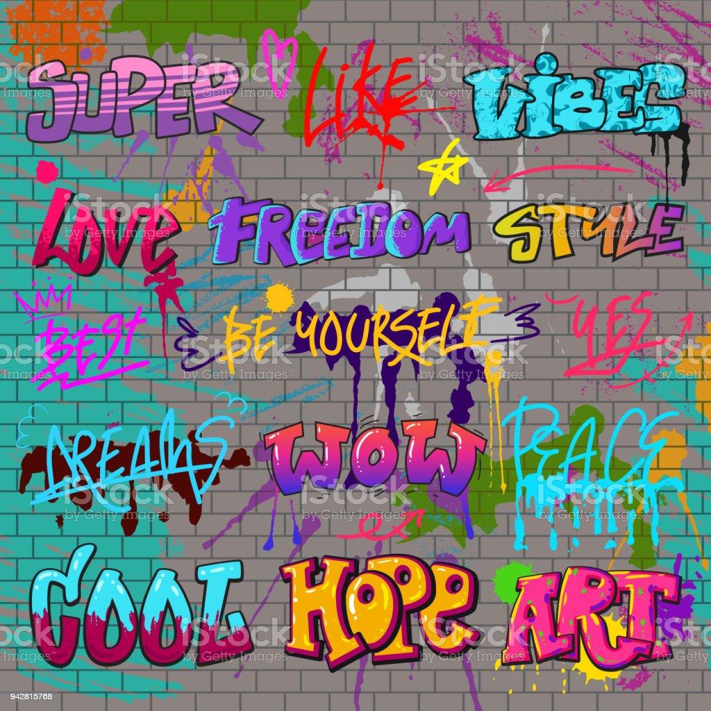 Graffiti-Vektor-Graffito der Pinselstrich Schriftzug oder Grafik Grunge Typografie Illustration Satz von Straße Text mit Liebe Freiheit auf Ziegel Wand hintergrund isoliert – Vektorgrafik