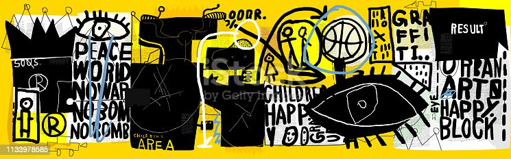 Symbolic image of graffiti that contains various characters and words