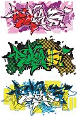 3 versions of graffiti