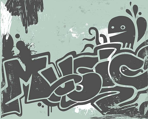 Graffiti Music graffiti on the wall.  airbrush stock illustrations