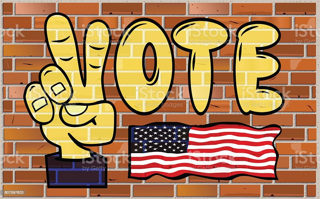Graffiti Vote Word On The Brick Wall Stock Vector Art & More Images ...
