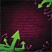 This is a vector illustration of some graffiti style arrows on a brick wall. All elements are neatly organized on three layers. Very easy to edit/change colors. AI8 compatible eps.