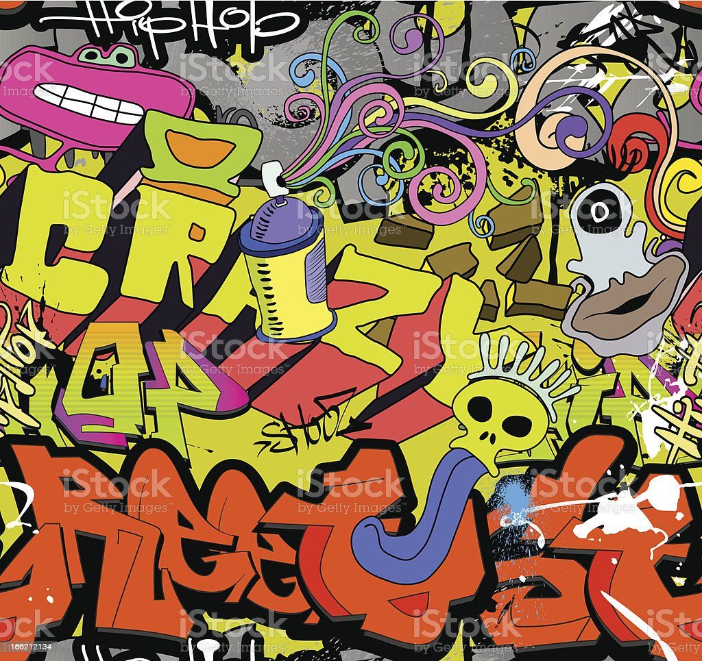 Graffiti Wall Stock Vector Art & More Images of Backgrounds ...